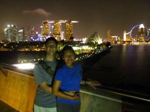 The Thrifty Trailblazers at Marina Bay skyline